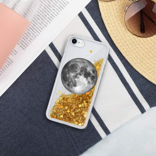 Full Moon Liquid Glitter iPhone Case 1