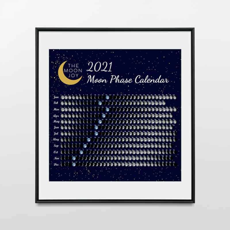 2021 Moon Phase Calendar Poster Print